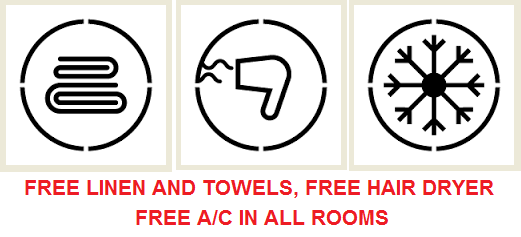 Free towels, hair dryer and AC