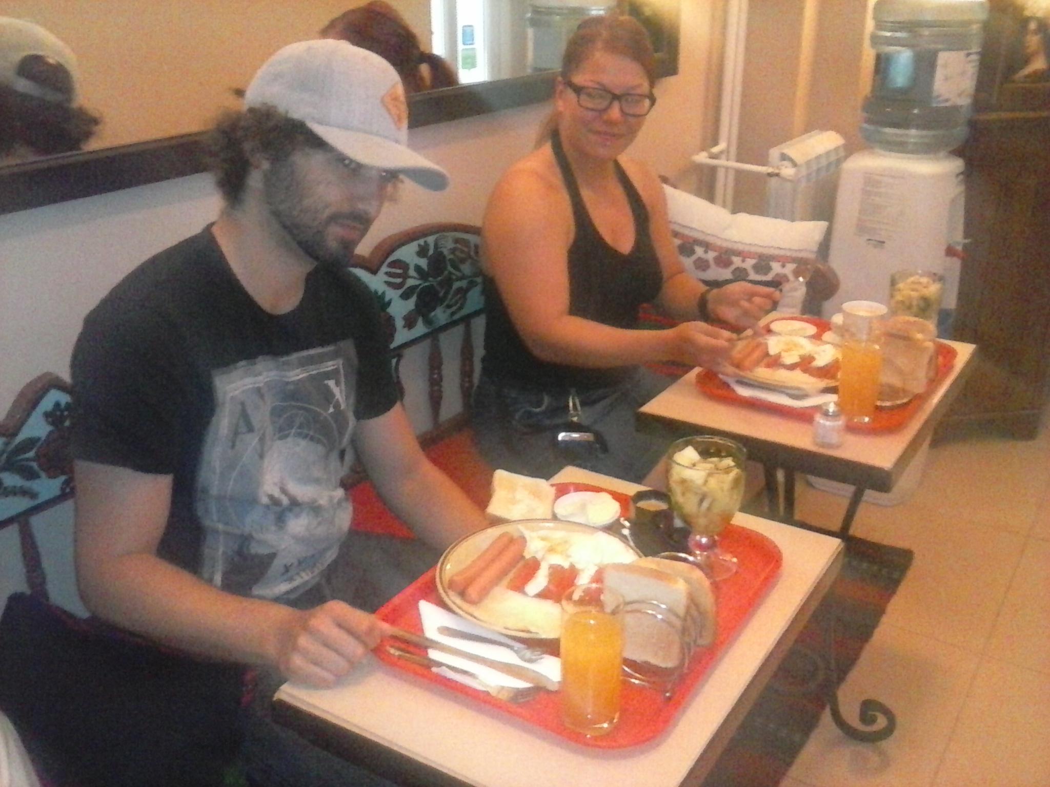 Authentic Belgrade Centre Hostel Guests from Finland having breakfast